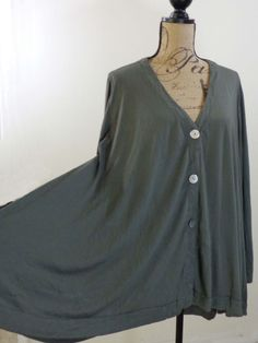 ART TO WEAR Lagenlook Comfy USA jacket artsy top olive quirky upscale sz XL #ComfyUSA #BasicJacket #EveningOccasion