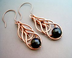 Wire Wrapped Earrings Copper and Black Agate Gemstone