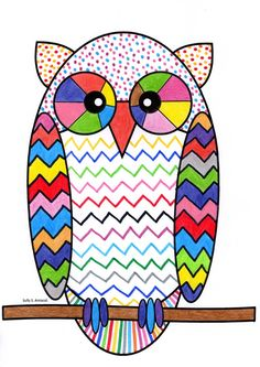 A colorful owl by exercising in free decorative graphics and coloring. Owl Art, Bird Art, Drawing For Kids, Art For Kids, Comic Cat, Line Art Projects, Art Sub Plans, Paper Roll Crafts, Owl Crafts