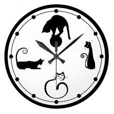 Whimsical Black Kitty Cat Wall Clock <3