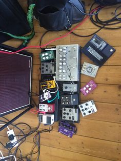 this is all my pedals that  i have to play with at the minute! lots of fun!