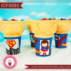 Supergirl superhero super hero girl girly by IceCreamFactory, birthday party ideas favors flat bottom ice cream cone wraps wrappers labels tags for cupcake cake cones unique ooak costume girl in red and blue, matching invitations available at www.InstaParties.com and The Ice Cream Factory on etsy.