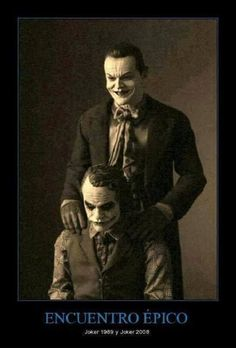Funny pictures about Jack Nicholson And Heath Ledger As The Jokers. Oh, and cool pics about Jack Nicholson And Heath Ledger As The Jokers. Also, Jack Nicholson And Heath Ledger As The Jokers photos. Jack Nicholson, Joker Nicholson, Joker Et Harley, Der Joker, Joker Heath, Joker Batman, Batman Stuff, Joker Art, Superman