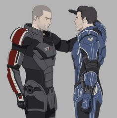 Commander John Shepard and Major Kaidan Alenko. #fanart Mass Effect 3