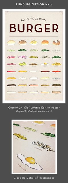 """Feast your eyes on the limited edition """"Build Your Own Burger"""" Poster. Starting from the top down, the burger combos are endless."""