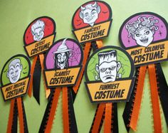 Halloween Costume Award Badges, cute monster prize and contest ribbon badges for Halloween parties, Best Halloween costume ribbon Halloween Costume Awards, Halloween Trophies, Original Halloween Costumes, Fairy Halloween Costumes, Scary Costumes, Halloween Party Costumes, Halloween Birthday, Scary Halloween, Halloween Trivia