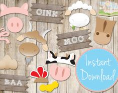 INSTANT DOWNLOAD BARNYARD Photo booth Props by UponATimeDesigns