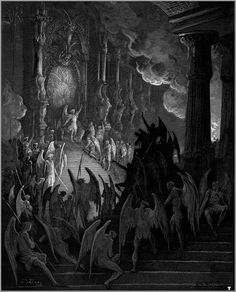 Satan takes his throne in Hell by Paul Gustave Doré