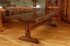 cherry trestle dining table hand made live edge walnut slab trestle dining table by wood works solid cherry trestle dining table Trestle Table Plans, Trestle Dining Tables, Walnut Dining Table, Bench Plans, Wood Slab Table, Stump Table, Live Edge Tisch, Live Edge Table, Dinning Room Tables