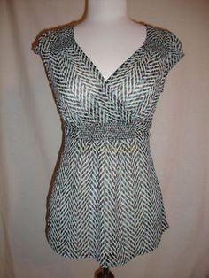 New York Co Chiffon Flirty Crossover Empire Smocked Shoulder Blouse Top Small | eBay $9.99