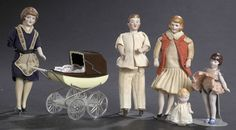 Family of All-Bisque Dollhouse Dolls,