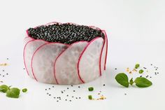 Barnegat Light Scallop & American Sturgeon Caviar Health Facts | Dish Nutritional Information Beluga Sturgeon, Beluga Caviar, Caviar Recipes, Restaurant Dishes, Health Facts, Nutrition, Argan Oil, Tossed, American