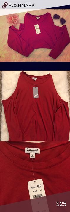 Splendid Cold Shoulder T-Shirt NWT Red Splendid Cold Shoulder T-Shirt. Very soft. Fabric contents in picture. 3/4 sleeve. Super cute. Perfect color for fall. Splendid Tops Tees - Long Sleeve
