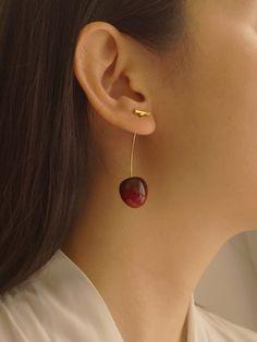 Petit Cherié (Cherry) Earrings *Gold-plated stems – Gabi The Label Cute Jewelry, Jewelry Shop, Jewelry Accessories, Jewelry Design, Fashion Jewelry, Jewellery, Bold Jewelry, Trendy Jewelry, Simple Jewelry