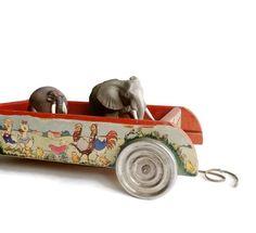 Vintage Pull Along Toy  Jingle Wagon.