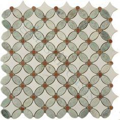 Ming Green & Thassos White Flower Green Kitchen Polished Stone - tile - Glass Tile Oasis. $50/SF