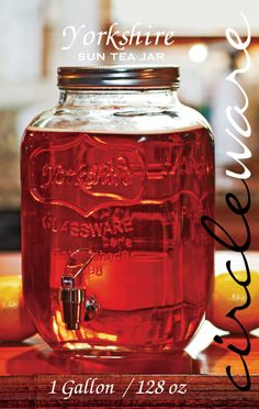 CIRCLEWARE YORKSHIRE BEVERAGE SUN TEA JAR DISPENSER CLEAR - 1 GALLON