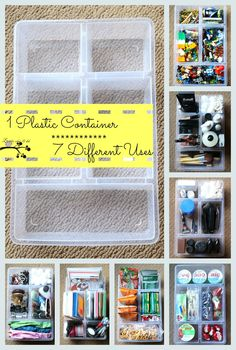 1 Plastic Ikea Container.........7 Different Organizing Uses.  This is one of my favorite organizing tools.