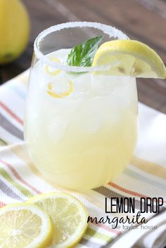 Delicious Lemon drop Margarita with Candy Lemon Peel!
