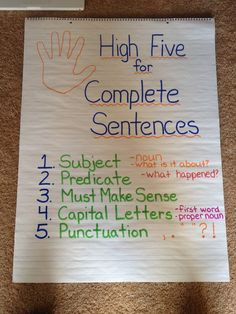 complete sentence anchor chart - Google Search