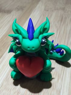 Polymer clay dragon, clay dragon, dragon, ooak, KiwikoiOriginals, art, figurine, sculpture, clay, sculpey, adorable, love, heart