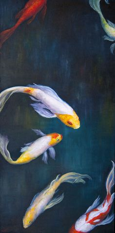 koi painting  - large format original oil painting - koi pond art