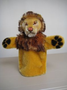 Steiff Vintage Leo Lion Hand Puppet Leo Loewe – 1965 to 1970 – Raised Script Button in Ear. He's adorable.
