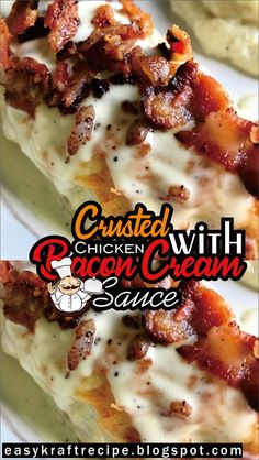 Crusted Chicken with Bacon Cream Sauce - Easy Kraft Recipes Parmesean Crusted Chicken, Appetizer Recipes, Dessert Recipes, Appetizers, Low Carb Recipes, Cooking Recipes, Diet Recipes, Chicken Corn Chowder, Kraft Recipes
