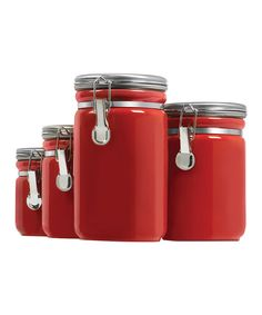 Take a look at this Red Clamp-Top Canister Set today!