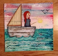 Whimsical Folk Art Girl - My Heart Is Yours - 12x12 Original Mixed Media Painting on Canvas Board
