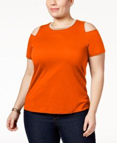 MICHAEL Michael Kors Plus Size Cold-Shoulder Top
