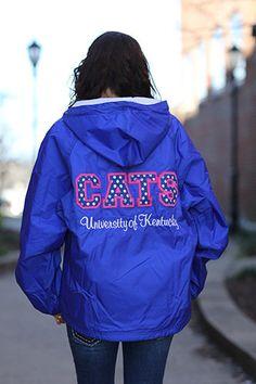 University of Kentucky Stitched Letter Rain Jacket - UK Ladies Rain Jacket
