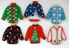 A Guide to Making the Cutest Ugly Christmas Sweater Cookies: Arguably the most fun part of Christmas parties is pulling out your beloved ugly Christmas sweaters. Diy Christmas Garland, Christmas Crafts, Christmas Decorations, Christmas Clay, Christmas Recipes, Christmas Desserts, Christmas Ornament, Holiday Recipes, Ugly Sweater Cookie