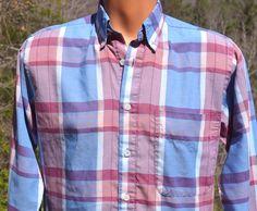 vintage 80s plaid shirt LEVI'S colorgraphs button down blue pink western Small preppy 70s by skippyhaha