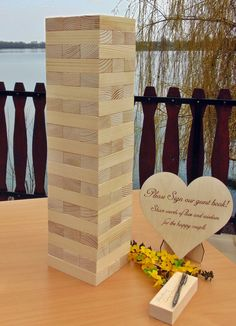 Giant Tower , Pine wood blocks, Wedding Guestbook Alternative, Outdoor Game, Birthday guestbook, Wedding Games, Nature Blocks, Graduation by YourHappyDay2016 on Etsy https://www.etsy.com/listing/273091642/giant-tower-pine-wood-blocks-wedding
