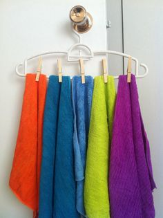 Small space solution! Dry microfiber clothes on a hanger with clothes pin in a sunny space. Easy!