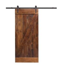 Impart a stylish look and touch to your doorway by using this durable CALHOME Walnut Stain Wood Sliding Barn Door with Sliding Door Hardware Kit. Barn Style Sliding Doors, Interior Sliding Barn Doors, Sliding Door Hardware, Wood Barn Door, Glass Barn Doors, Wood Doors, Pine Doors, Rustic Doors, Rustic Barn