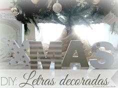 Letras de madera decoradas para Navidad - El rincón de las cosas bonitas: