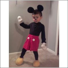Really adorable homemade Mickey Mouse costume. Looks SO simple.
