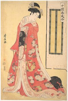 Torii Kiyonaga, also renowned for his portraits of actors, has wrapped this beautiful woman in bright silk robes. Her red outer robe is decorated with chrysanthemum roundels in delicate colors, her furisode (a kimono with long, swinging sleeves) of peach silk has orchid designs, and the cream underrobe and red undergarment add to the contrast with her black obi