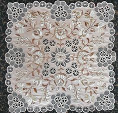 HUNGARIAN RICHELIEU HAND EMBROIDERED beige  LACE/ 60 cm/""