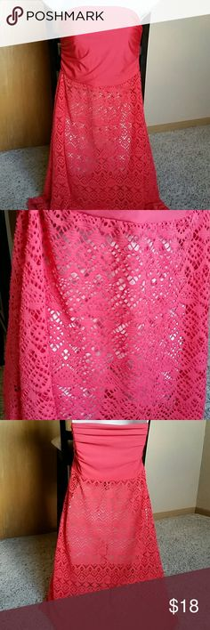 Bisou Bisou Coral Swim Coverup EUC! High low hem with crochet. Measurements to come! Bisou Bisou Swim Coverups