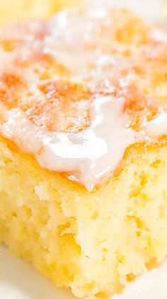 Pineapple Poke Cake with Pineapple Glaze.