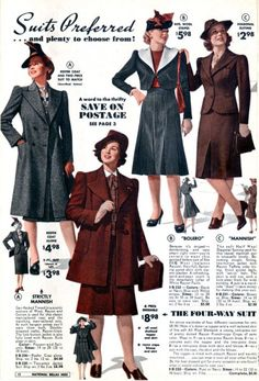 1939-1940 autumn/winter fashions from the Bella Hess catalog.