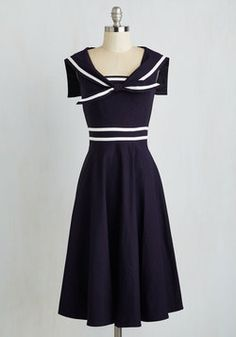 Pleasing to the Aye Dress. Kick your feet up and savor a nautical reverie in this navy dress from Stop Staring! #blue #modcloth