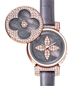 Tambour Bijou Secret rose gold and pearl of Polynesia, with the watch-face revealed © LOUIS VUITTON Louis Vuitton Watches, Louis Vuitton Jewelry, Cute Watches, Elegant Watches, Ladies Watches, Female Watches, Gucci, Chanel, High Jewelry