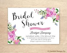 Printable Custom Bridal Shower Invitation Card - Pink Florals - created to make your Bridal Shower special!    This invitation prints as a