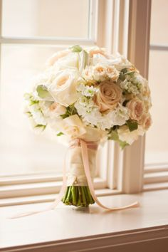 white and blush bridal bouquet by My Bouquet