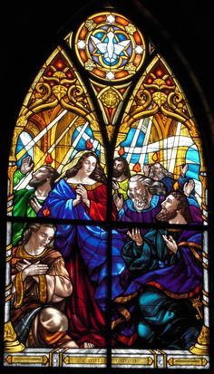 Pentecost - Gorgeous stained glass windows at Saints Anne & Joachim Catholic Church, Fargo, North Dakota