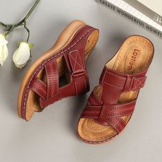 be80e4a4c853f High-quality Lostisy LOSTISY Hollow Out Lightweight Pure Color Breathable  Hook Loop Wedges Sandals -